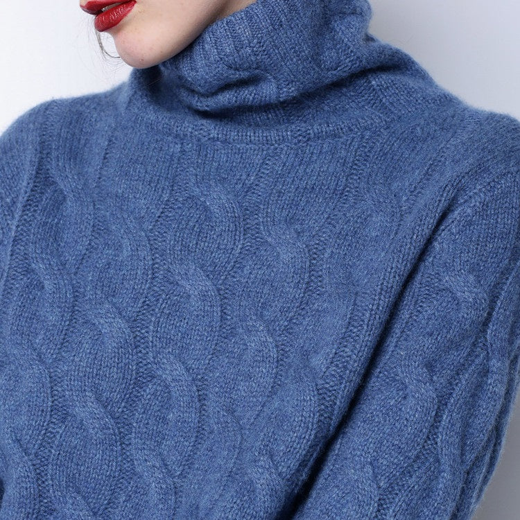 0af10f9ef5d Women s - 100% PURE CASHMERE- High Collar Thick Sweater - BLUE - PLUS SIZE  INCL - CW1