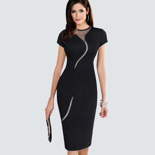 Women s Apparel - Mesh Panel Patchwork Contrast Work Dress - BLACK - P -  84degrees ed610efe0