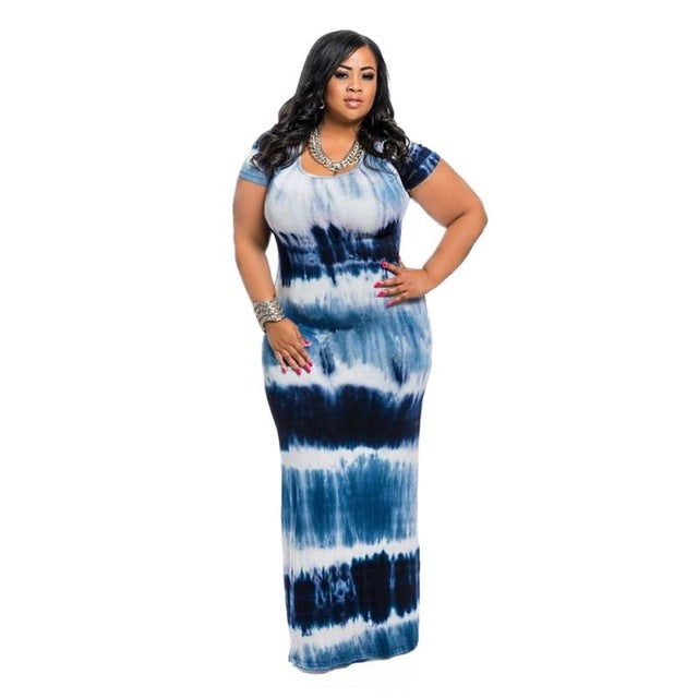 db67c42af18 Women s Apparel - Boho Round Neck Tie Dye Maxi Dress - BLUE - PLUS SIZ -  84degrees