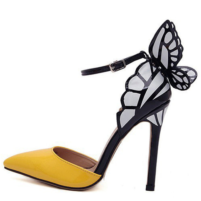 940f6ee6c60 Shoes - Women s - Butterfly Heel - Thin High Heels - YELLOW - 84degrees