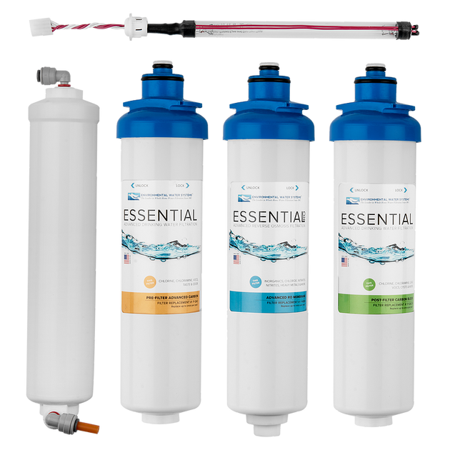Environmental Water Systems Essential F.SET.RO4-UV Replacement Filter Set for RO4 Ultra Violet Reverse Osmosis Water Filtration System - Drinking Well Co.