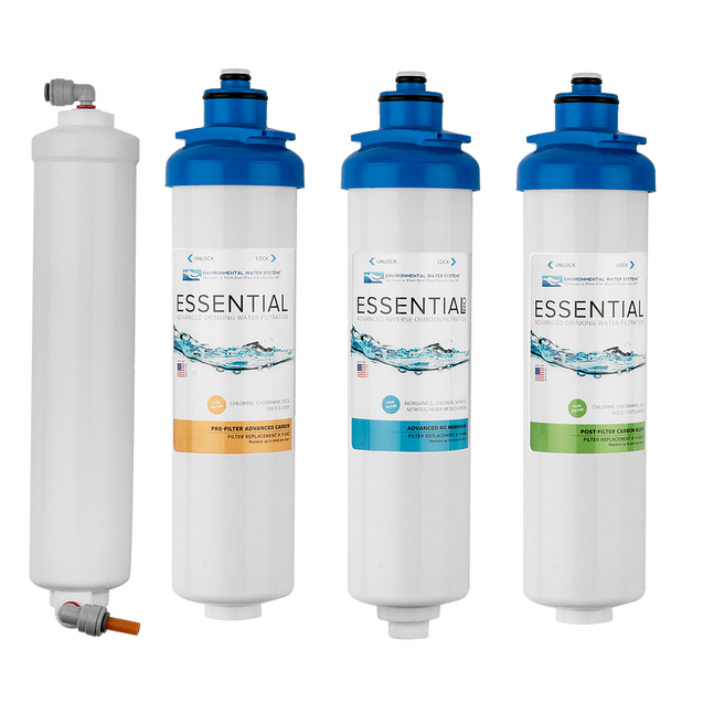 Environmental Water Systems F.SET.RO4 Replacement Filter Set for RO4 4-Stage Reverse Osmosis System - Drinking Well Co.
