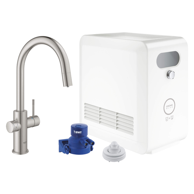 Grohe Blue 31251 Chilled and Sparkling Water Filtration System with Kitchen Faucet