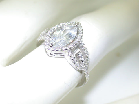 ".925 Sterling Silver & Genuine White Topaz ""Halo"" Design Engagement Ring"