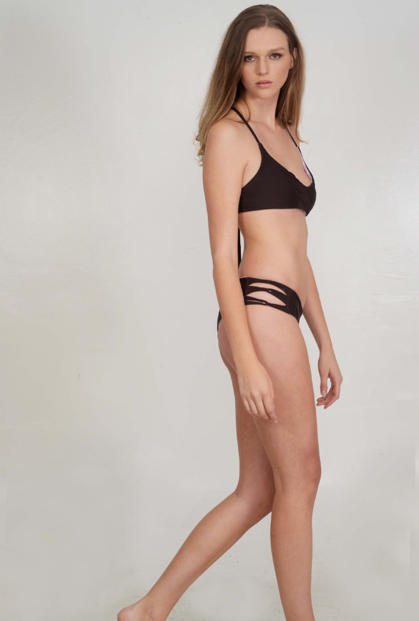 The McKenna Bikini Bottom – Skinny Looped Bikini Bottom in Semisweet Chocolate Brown