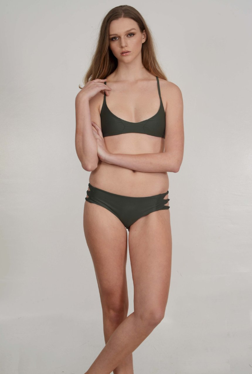 The McKenna Bikini Bottom – Skinny Looped Bikini Bottom in TMNT Green