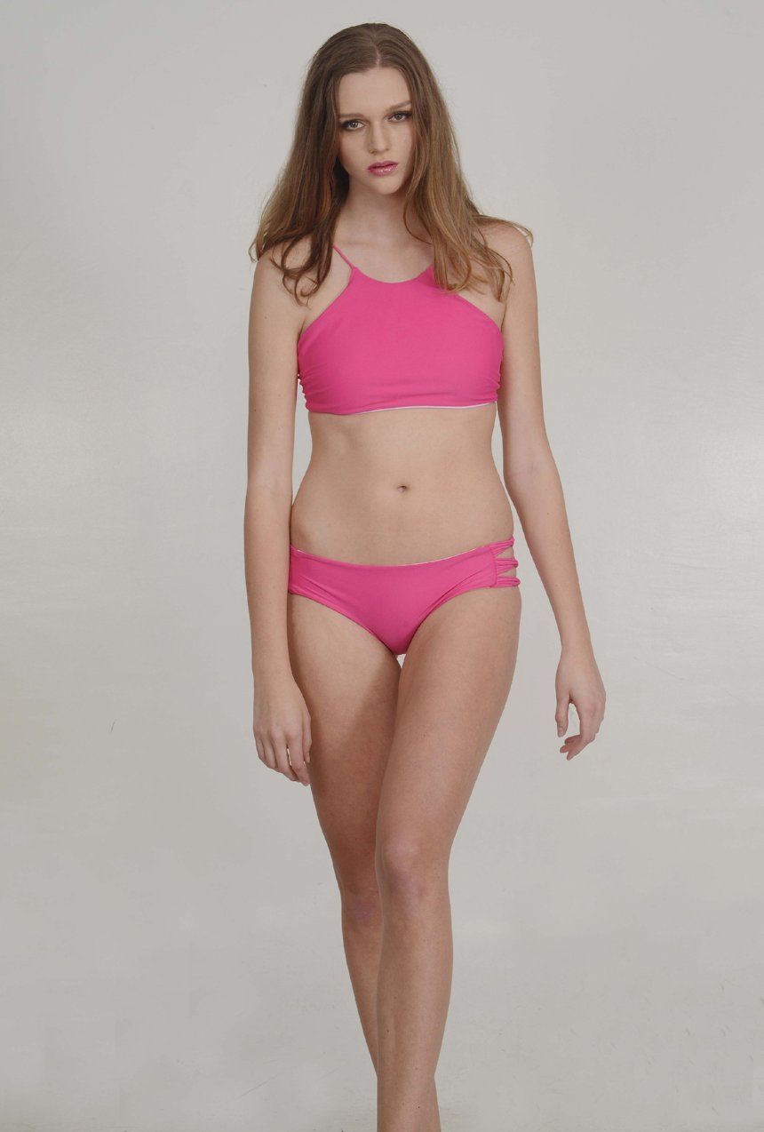 The McKenna Bikini Bottom – Skinny Looped Bikini Bottom in High Maintenance Pink