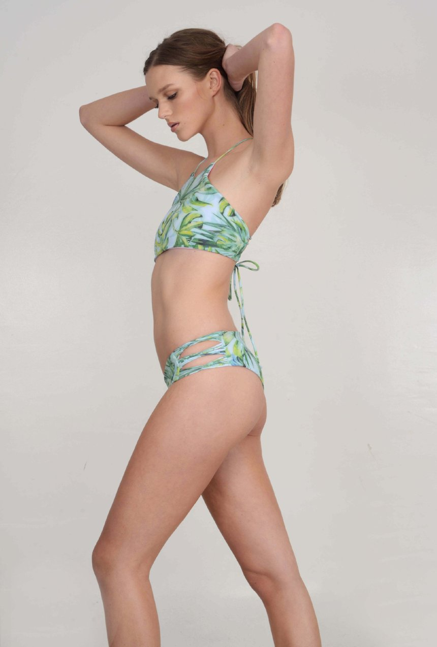 The McKenna Bikini Bottom – Skinny Looped Bikini Bottom in Island Escape Palm Print