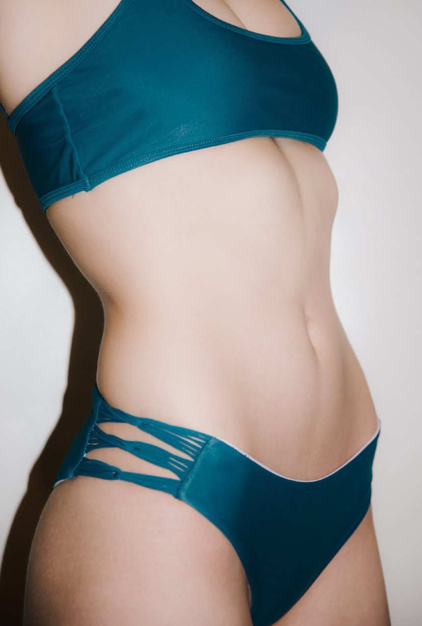 The McKenna Bikini Bottom – Skinny Looped Bikini Bottom in Beyond the Reef Teal