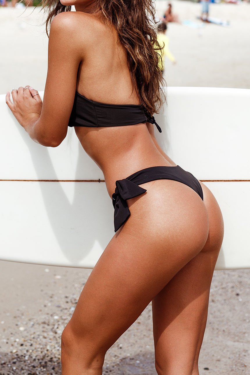 The Jordyn Bikini Bottom – Cheeky Wide Tie Bikini Bottom in Jet Black
