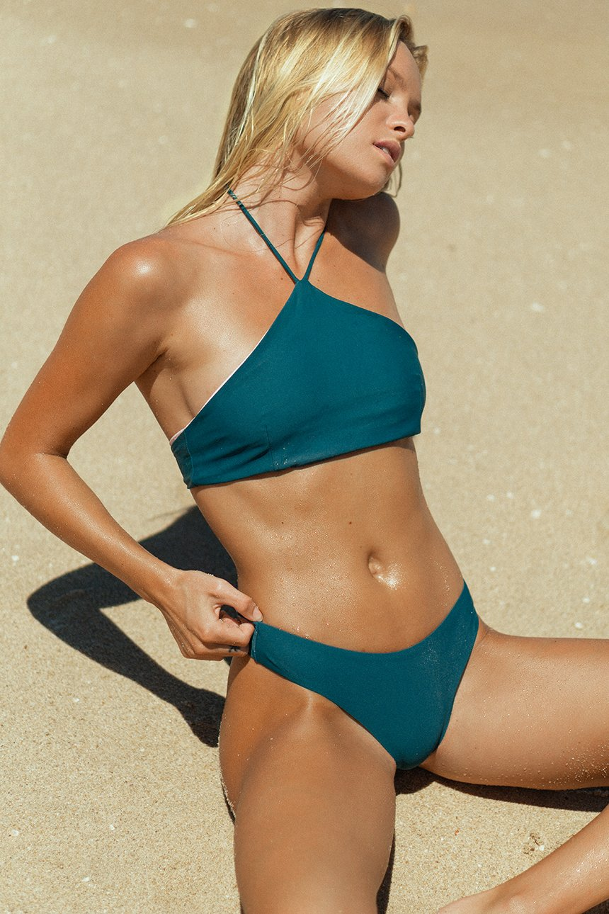 The Leila Bikini Top – Diamond Halter Bikini Top in Beyond the Reef Teal
