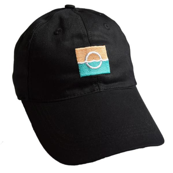 Embroidered Adjustable Dad Hat – Orange Teal Colored Logo