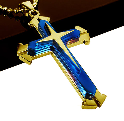 Blue and Gold colored Stainless Steel Cross Pendant Necklace Chain