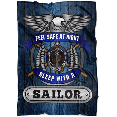 Christmas Special - Navy - Feel Safe at Night, Sleep With a Sailor Throw Blanket
