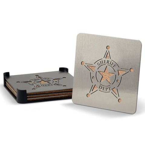 Sheriff 4-piece Boaster Drink Coaster
