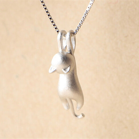 Sterling Silver 925 Climbing Cat Necklace