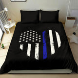 thin blue line heart-bedding set