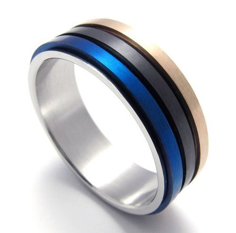 Tricolor Blue Black Gold Spinner Ring