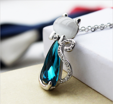 Blue Gem Cat Necklace