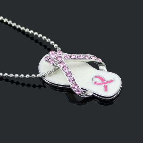 Pink Ribbon Flip Flop Sandal Pendant Necklace