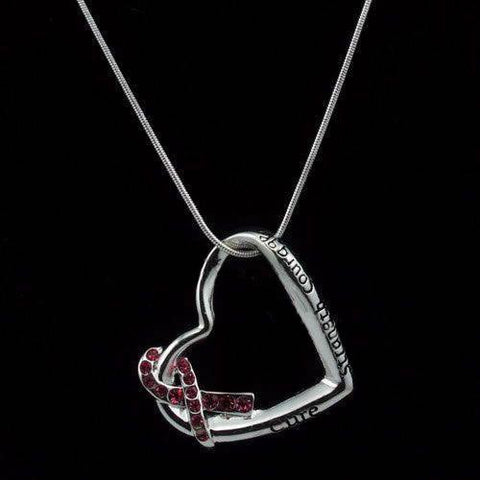 Heart Pink Ribbon Pendant Necklace