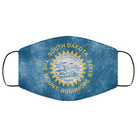 South Dakota Grunge Flag	fifth Face Mask