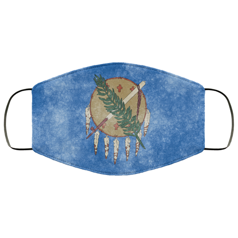 Oklahoma Grunge Flag fifth Face Mask