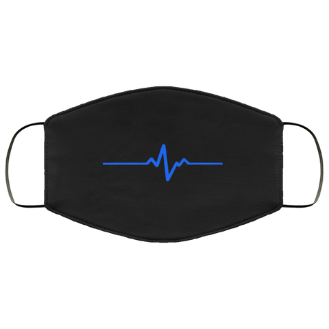 Thin blue line heartbeat Face Mask