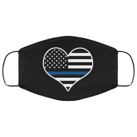 Thin Blue Line Heart Face Mask