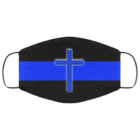 Thin Blue Line Cross Face Mask