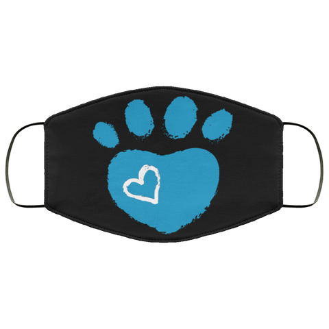 paw print blue Fourth Face Mask