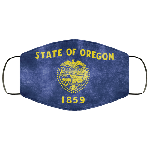 Oregon Grunge Flag fifth Face Mask