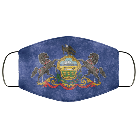 Pennsylvania Grunge Flag fifth Face Mask
