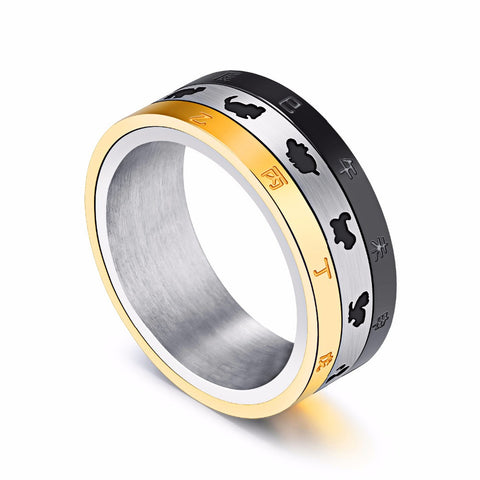 Tricolor Chinese Zodiac Stainless Steel Spinner Ring