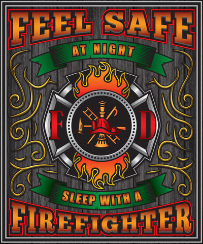 Fall Special - Firefighter - Feel Safe at Night, Sleep With a Firefighter Throw Blanket