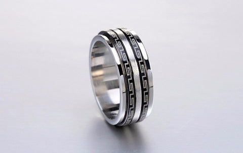 Black Great Wall Stainless Spinner Ring