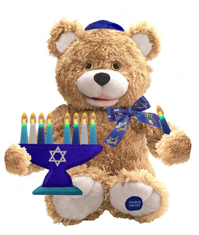 "Hanukkah Bear with Menorah Sings ""Hanukkah, Oh Hanukkah"""