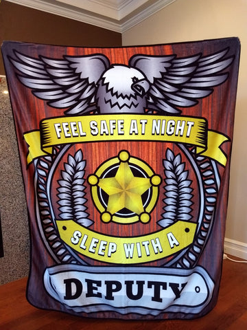 Deputy - Feel Safe at Night, Sleep With a Deputy Throw Blanket