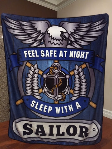 Navy - Feel Safe at Night, Sleep With a Sailor Throw Blanket