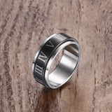 Roman Numerals Black Plated Spinner Ring