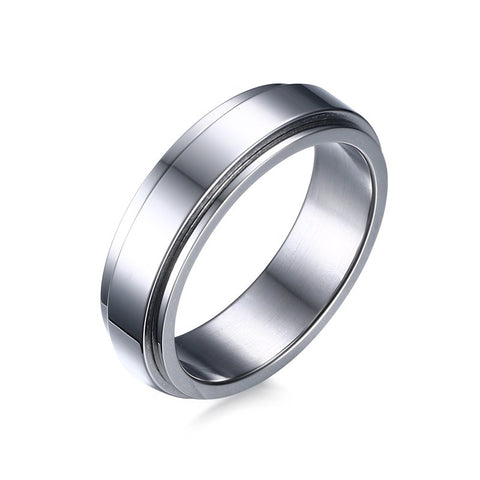 Elegant Silver Stainless Spinner Ring