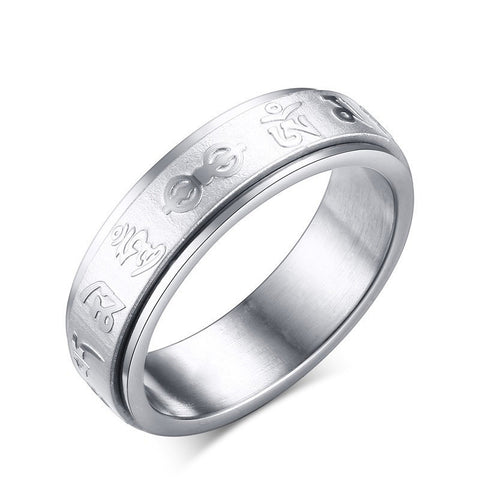 Engraved Mantra Characters Spinner Ring