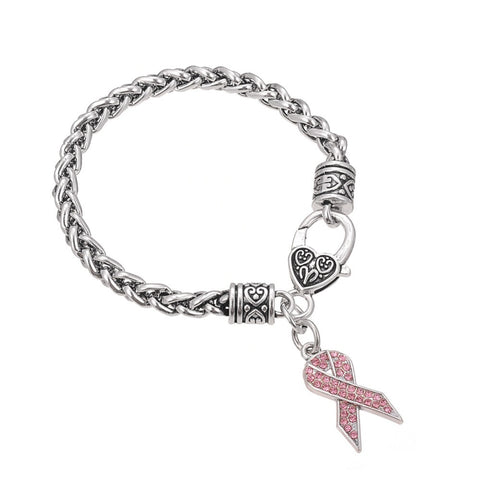 Pink Ribbon Crystal Charm Wheat Chain Bracelet