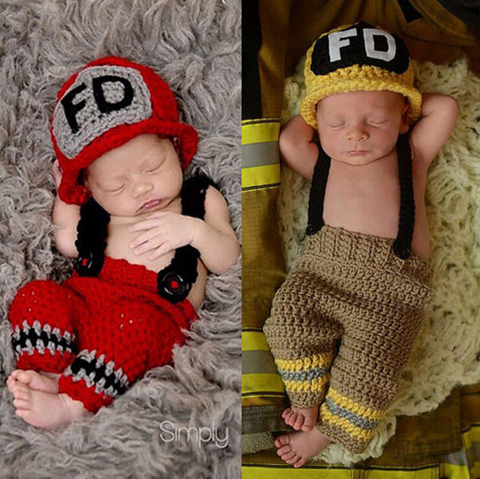 Crochet Firefighter Baby Hat and Pants Set