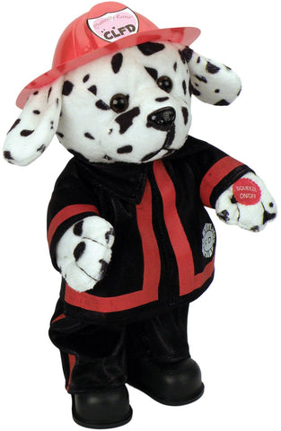 "Blaze Dalmatian Fireman Dog dances while singing, ""Ring of Fire""."