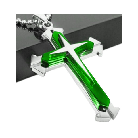 Green Silver Stainless Steel Cross Pendant Necklace Chain