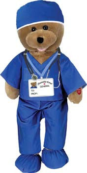 "Blue Scrubs Bear. Head sways & mouth moves while singing, ""(Doctor Doctor) Bad Case of Loving You""."