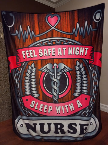 Christmas Special - Feel Safe at Night, Sleep With a Nurse Throw Blanket