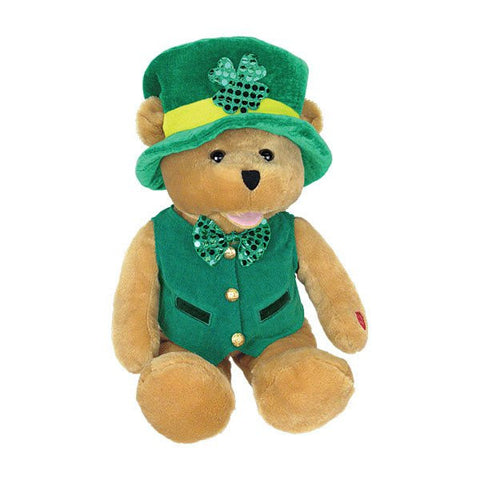 "12"" Irish Bear sings ""When Irish Eyes are Smiling."""