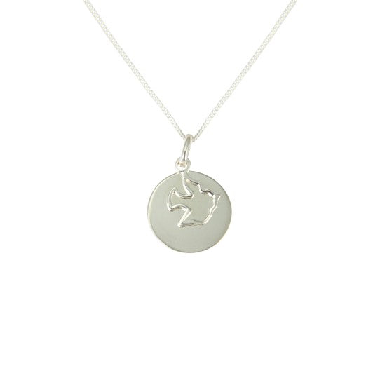 Sterling Silver Disc And Dove Pendant with Chain